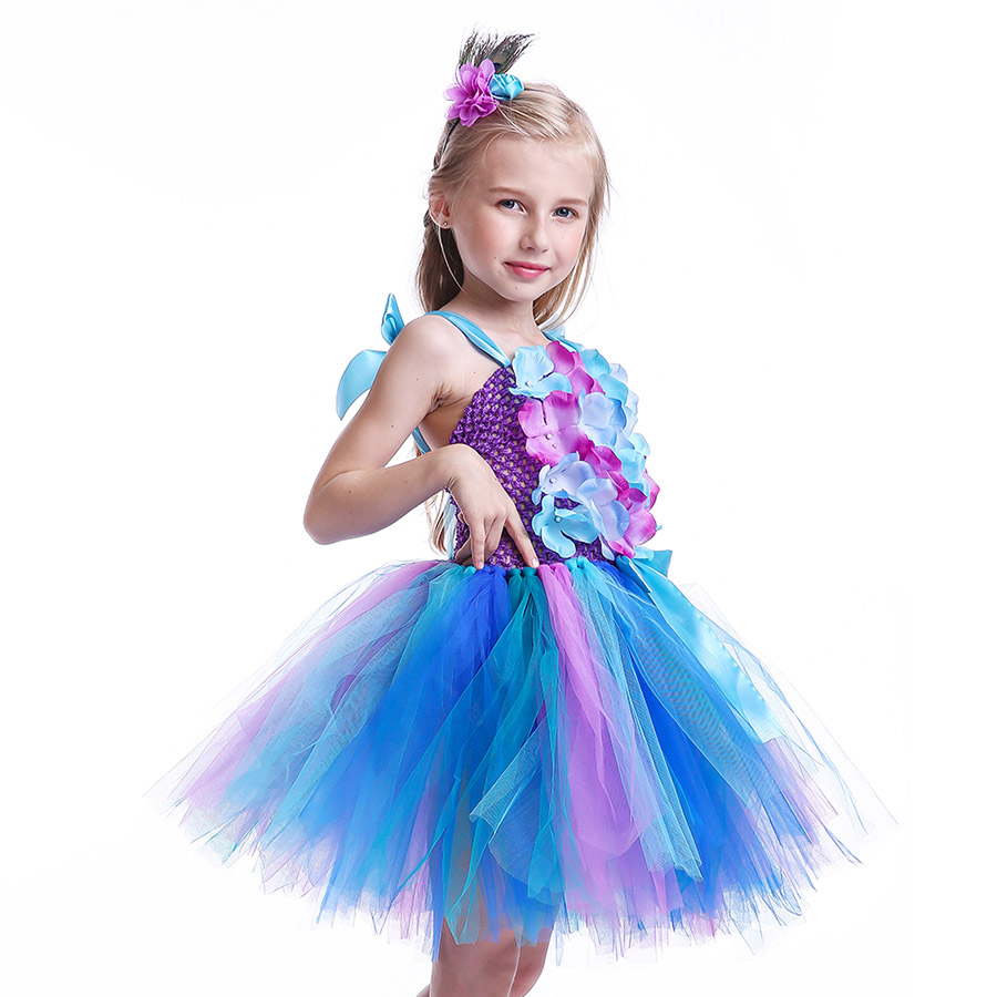 Girls Princess Peacock Flower Tutu Dress Children Handmade Purple and Blue Tulle (8)