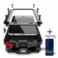 Vetro temperato + Completo di Protezione di Lusso Doom Armatura Cassa del Metallo Antiurto Copertura Per Samsung S7 S8 S10 S10Plus S9 S9Plus note8 Note9