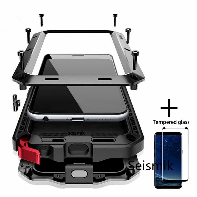 Vidro temperado + Desgraça Completa Proteção Luxo Armadura De Metal Case À Prova de Choque Capa Para Samsung S7 S8 S10 S10Plus S9 S9Plus note8 Note9