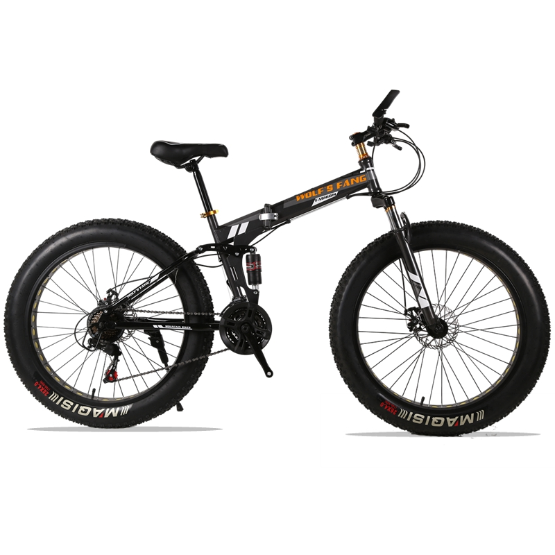 wolf's fang Folding Mountain Bike 21/24 speed 26X4.0 inch fat bike Snow bicycle brand Front and Rear Mechanical Disc Brake bicycle mountain bike 7 21 speed 26x 4 0 fat bike road bike front and rear mechanical disc brake spring fork alloy wheels bike