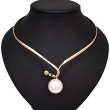 Крученое металлическое ожерелье из сплава искусственный жемчуг кулоны ожерелья для женщин простой дизайн массивный Металлический Воротник Колье Ожерелье Ювелирные изделия UKMOC