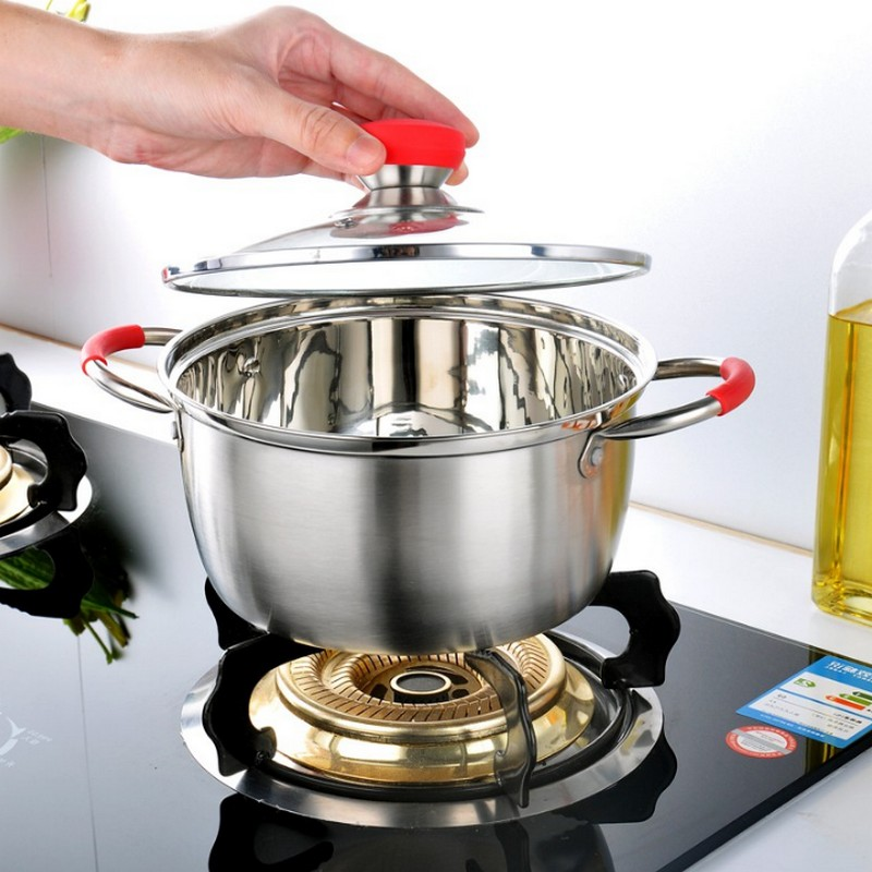 New Fashion Stainless Steel One/Two Layer Cooking Pot Stockpot Gas Induction Cooker Durable Soup Pots brew cooking stew pans