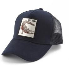 Mens Trucker Cap Embroidery Crocodile Animal Baseball Caps Women Summer Breathable Mesh Hat bone Casquette