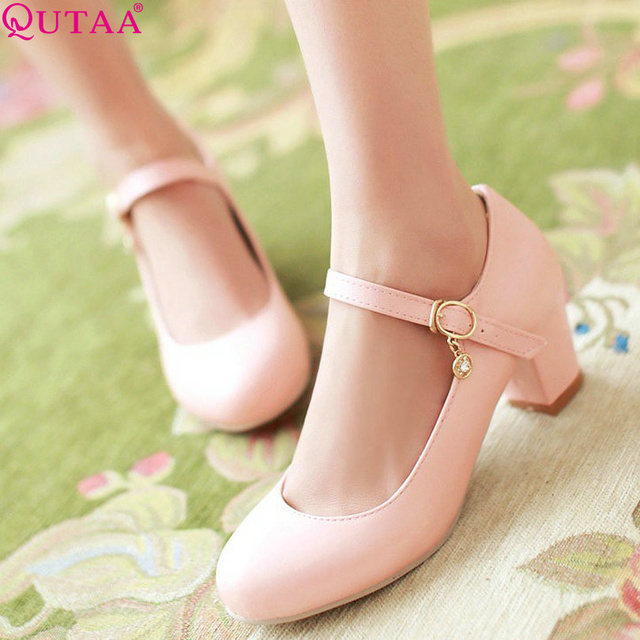 QUTAA Pink Ladies Shoes Woman Shoes Woman Pumps Mary Jane Square High Heel Pointed Toe Women Wedding Shoes Size 34-43