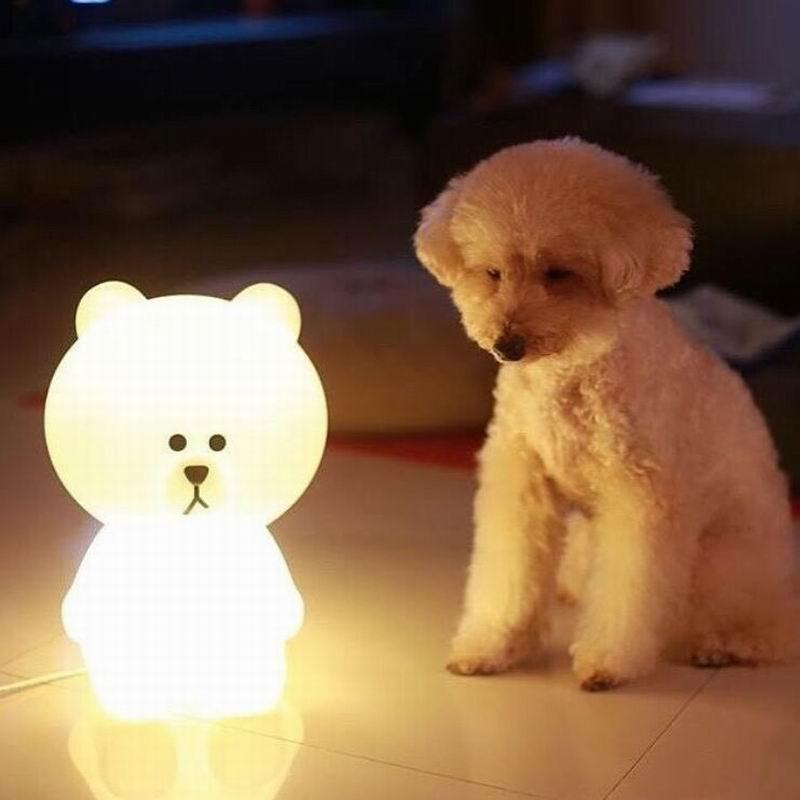 Nova Luz CONDUZIDA Da Noite Coelho Cabeça do Urso de Brown DA UE/EUA Plug Animal Dos Desenhos Animados Da Lâmpada Decorativa Para Crianças Quarto Crianças presentes - 4
