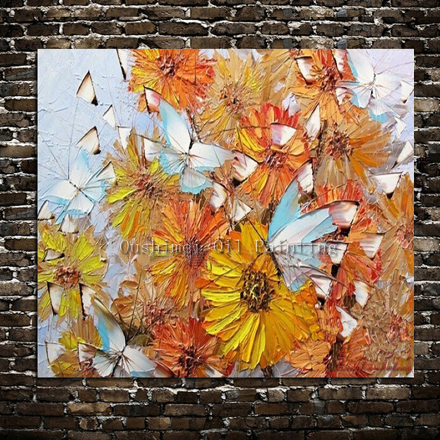 Handmade Maple Leaf Painting On Canvas Home Decorative Paintings No Frame Wall Fashion Modern Knife