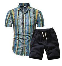Мужские Гавайи Праздник Лето Цветочные Блузка Рубашка Топ Костюм Наборы Черные Брюки 2 ШТ.
