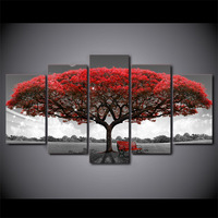 5 Piece HD Printed Red Tree Black And White Framed Wall Picture Art Poster Painting On Canvas For Living Room Cuadros Vintage