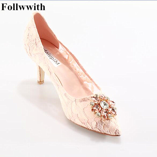Spring autumn women shoes pumps sexy lace rhinestone mesh hollow pointed toe high heels ladies fashion brand pink wedding shoes big size sale 34 43 new fashion sexy pointed toe women pumps spring summer autumn high heels ladies wedding party shoes 6629
