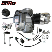TDPRO Lifan 4 Stroke 140cc Motor Engine Start Motorcycle Dirt Pit Bike Engines Starter+Oil Cooler+Exhaust+45mm Air Filter+Lever a51 14mm shaft dia metal motorcycle engine kick start starter lever silver tone motorcycle starter levers engine start universal