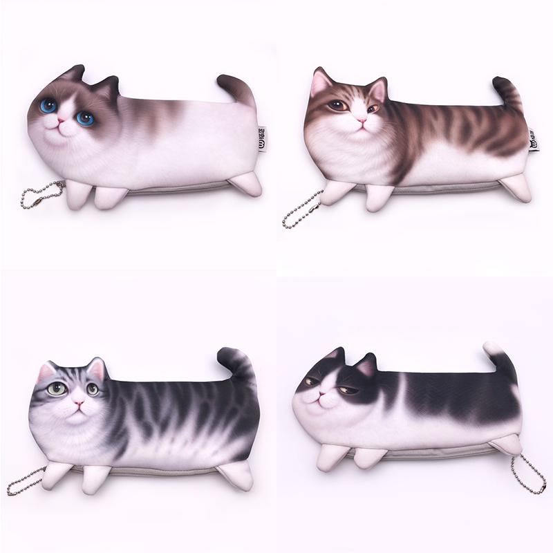 Creative Simulation Plush Cat Pencil Case For Kids Gift Cute 3D Pen Bag Box Korean Stationery Pouch School Supplies Escolar