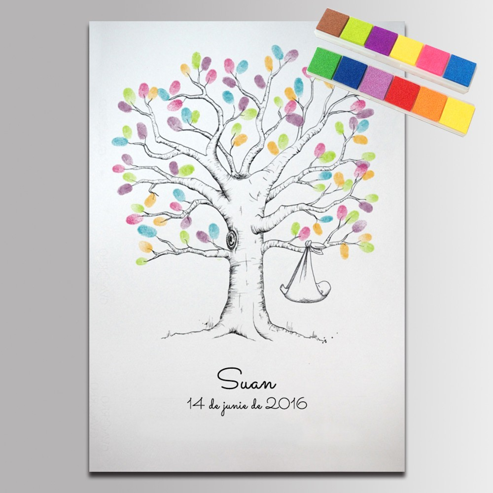 Guest Book Baby Shower Gifts Fingerprint Tree Painting Birthday Party Decorations Kids Comunion Regalo Invitados Baby Guestbook