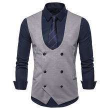 2019 autumn new mens casual Slim U-neck double-breasted dark pattern suit vest sleeveless business brand