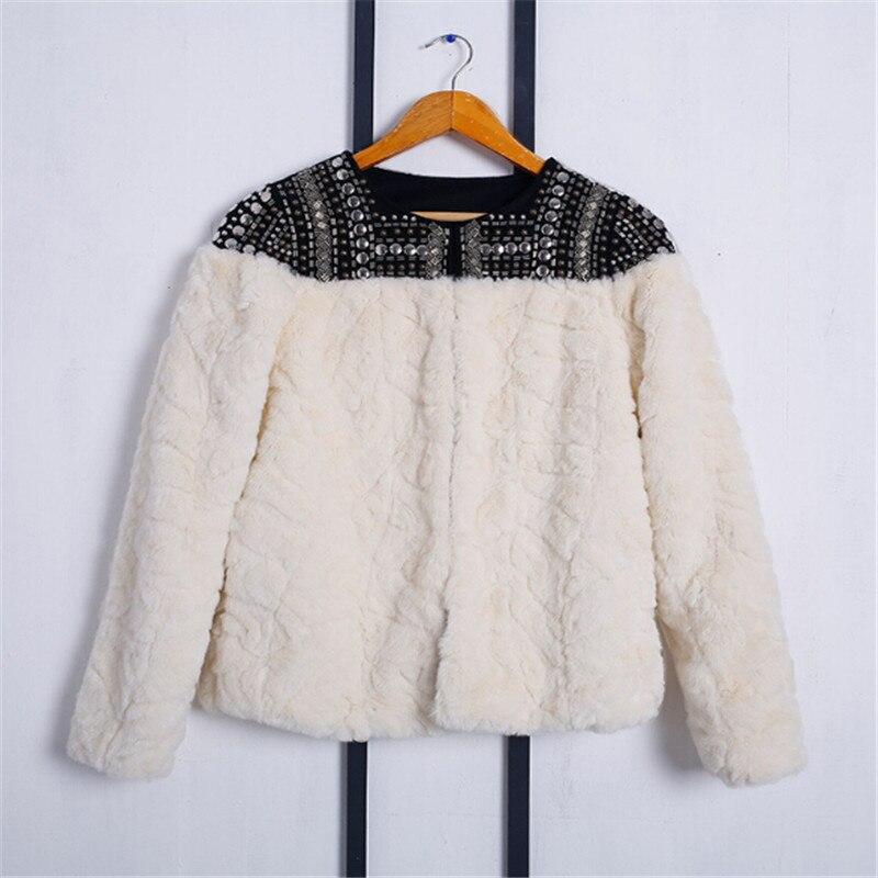 2018 winter women jacket coat warm faux fur rivet shoulder patchwork femail ladies basic coat jacket outwear in Jackets from Women 39 s Clothing