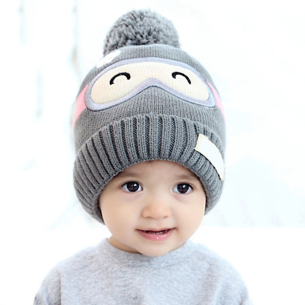 Winter Baby Hat Warm Cartoon Unisex Kids Ball Newborn Pompon Hat Cap Infant Toddler Warm Caps Beanies