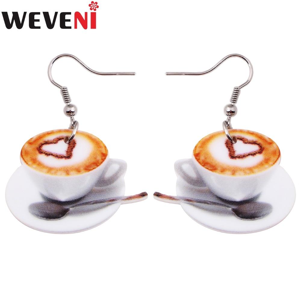 Weveni Leichte Flache Tropfen Baumeln Big Herz In Kaffee Tasse Lebensmittel Ohrringe Für Frauen Mode-accessoires Acryl Druck Schmuck Modernes Design