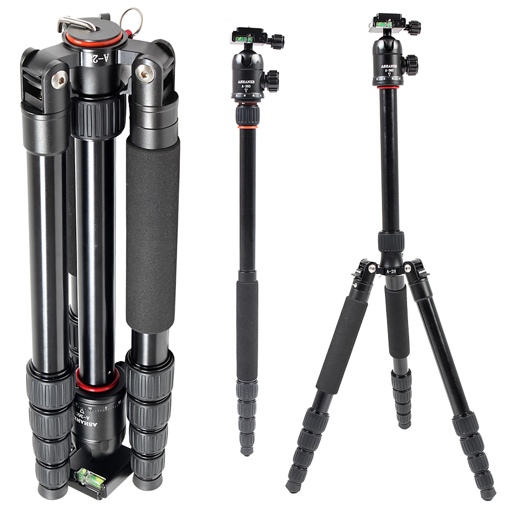 ASHANKS A28 Load 12KG Aluminum Tripod Monopod with Ball Head For DSLR Camera Travel Professional Photo Video Studio sirui p204s professional monopod photo video monopod for dslr camera aluminum table tripod 4 section carrying bag max load 8kg