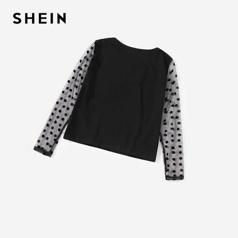 2251e12096 ... SHEIN Girls Dot Mesh Sleeve Top And Bow Front Skirt Two Piece Set Kids  Clothing 2019 ...