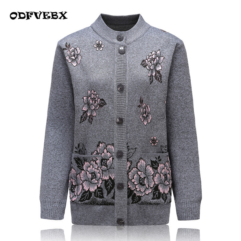 Autumn And Winter Female Sweater Coat Fashion Cashmere Sweater Women's Cardigan Jacket Plus Size XL-4XL Printed Cardigan ODFVEBX