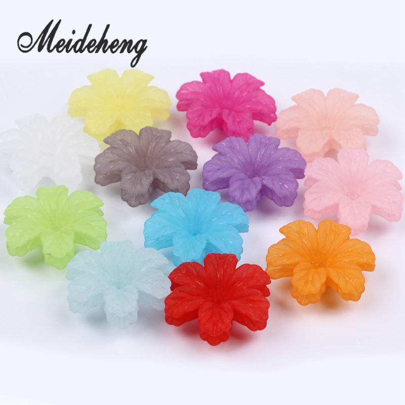 32x29mm Acrylic Colorful Frosted flower beads untuk Menjahit Anting - Perhiasan fashion - Foto 6