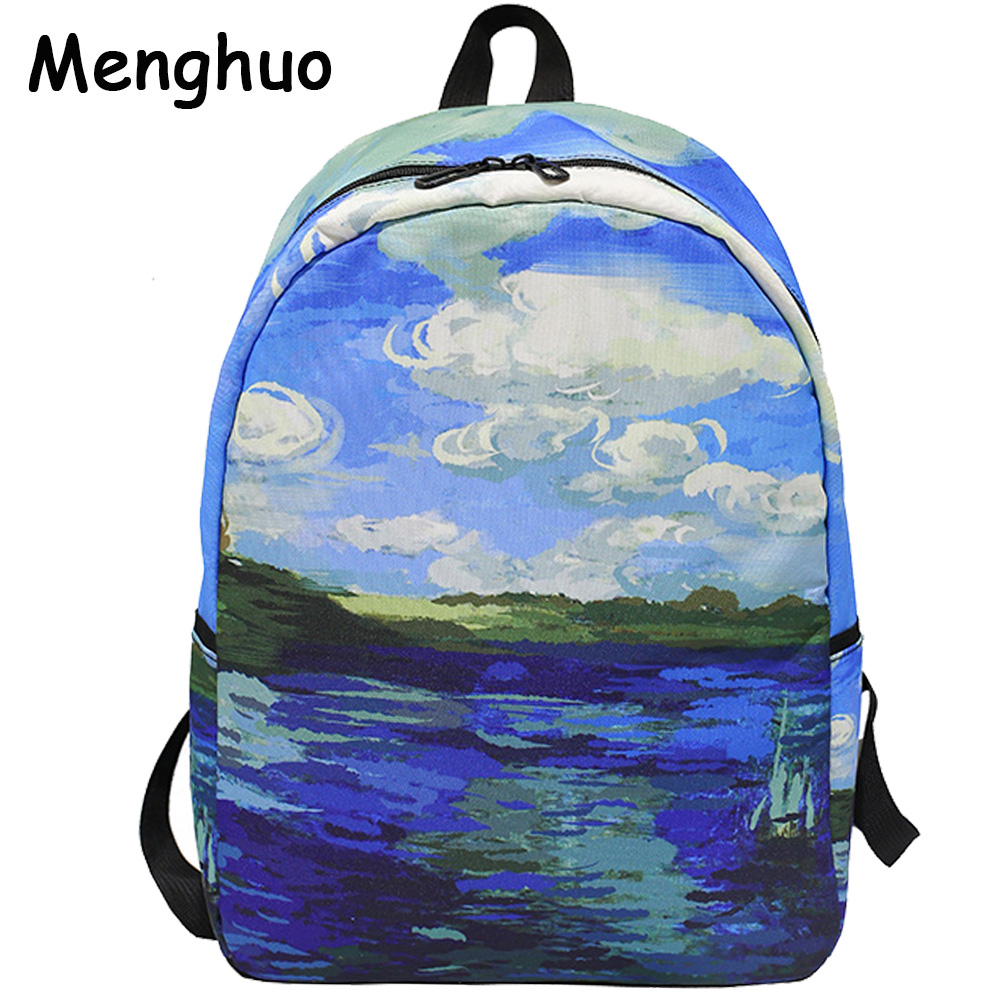 Menghuo Brand 2017 Daily Women Backpack for School Teenager Girls Boys Full Printed Nylon Travel Backpacks Casual Bags Mochilas findpop mochilas mujer 2017 famous brand backpack women waterproof nylon school bags student backpacks fashion casual trave bags