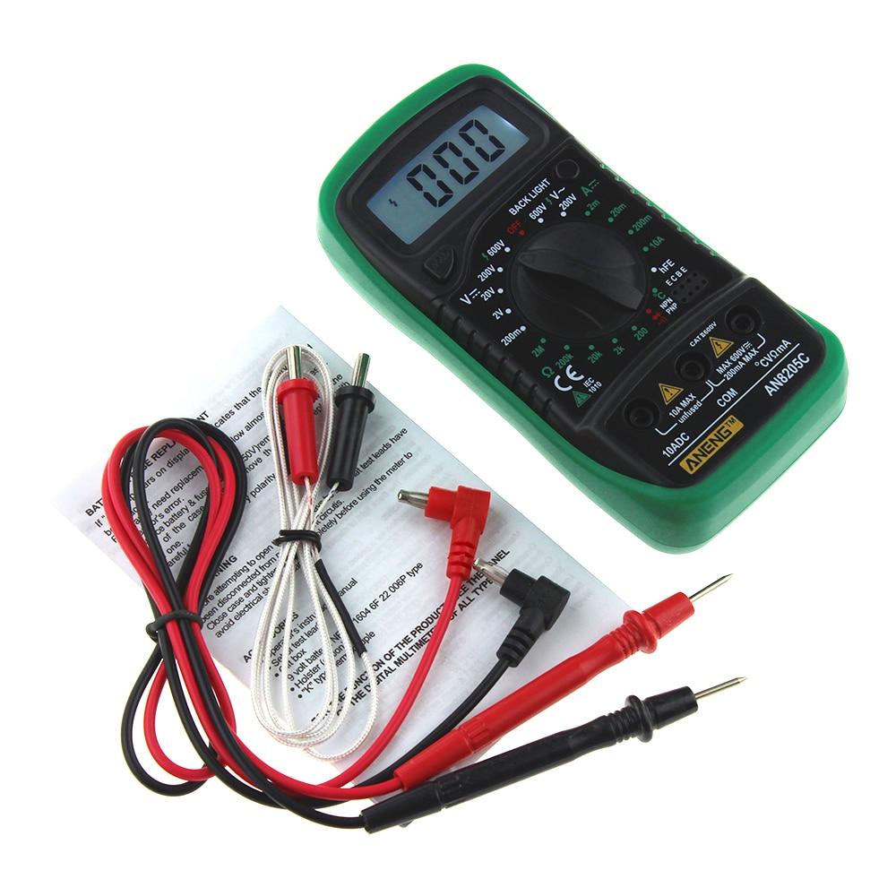 ANENG AN8205C Digital Multimeter AC/DC Voltage Meter DC Ammeter Resistance Temperature Tester AC DC Ohm Volt Tester