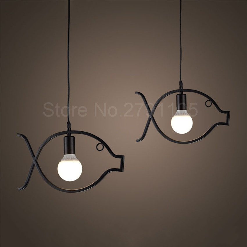 Creative Fish Led Pendant Lamp Restaurant Bar Aisle Iron Hanging Light Personalized Cafe Industrial Lighting E27 Pendant Light vintage iron pendant light industrial lighting glass guard design cage pendant lamp hanging lights e27 bar cafe restaurant