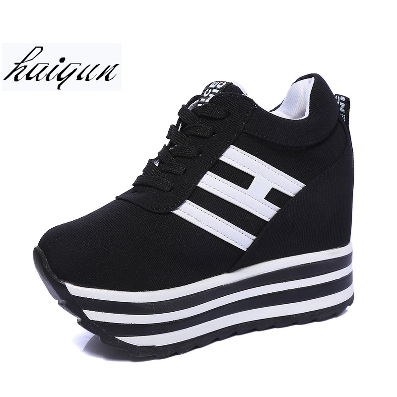 Hidden Heel Women Casual Shoes 2018 Women High Tops Canvas Height Increasing Wedges Shoes White Black Ladies Platform Shoes hee grand fashion height increasing women shoes zip white black women casual pumps wedges shoes drop shipping xwc471