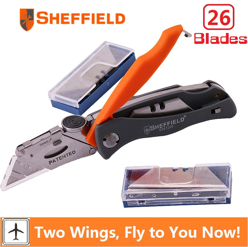 Sheffield Folding Utility Knife Multifunctional Pocket camping Heavy Duty Knife with 26 knife Blades Paper knife Cutter Tool dual blades stainless steel pull type pocket cigar cutter knife silver grey