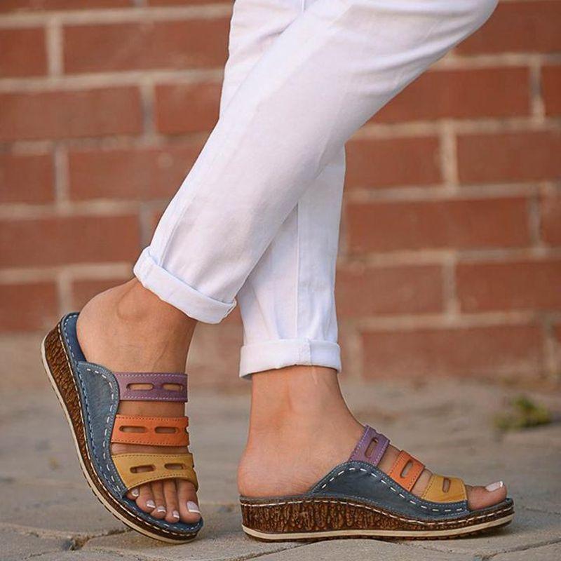 HEFLASHOR Summer  Slippers Women Beach Slip On Slides Female Rome Retro Casual Shoes Thick Bottom Wedge Open Toe Sandals 2