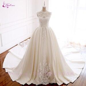 Image 4 - Luxury Mesh GORGEOUS Beadings and Grid element Elegant Lace Waulizane  Wedding Dresses O Neckline Bride Dresses