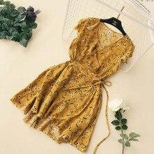 NiceMix 2019 Summer Beach Floral Print Dress Elegant V Neck Ruffles High Waist Short Sleeve Dress Vintage A Line Dress Vestidos цены