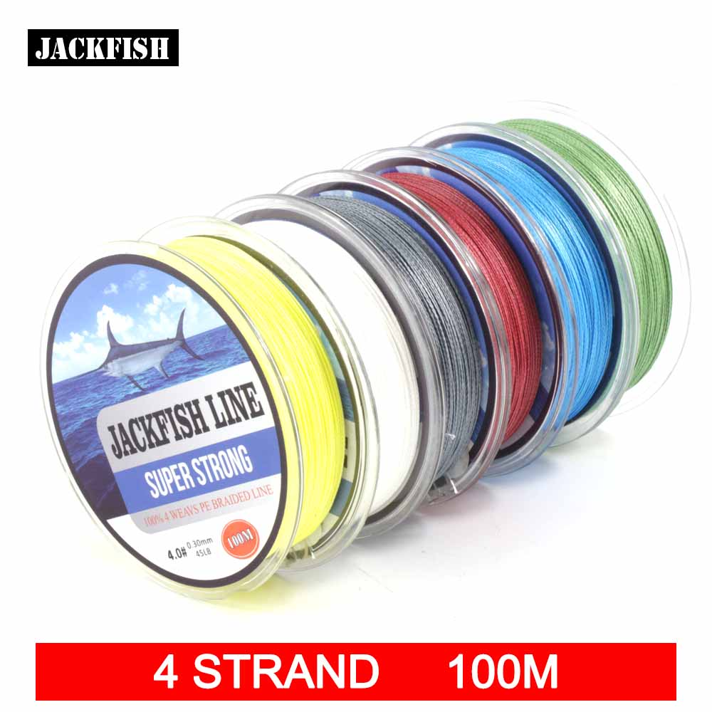 Jackfish 100m 4 strand pe braided fishing line with gift for 80 lb braided fishing line