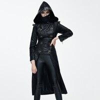 Devil Fashion Autumn Winter Punk Style Faux Leather Women Dovetail Long Jackets Gothic Hooded Coats Punk