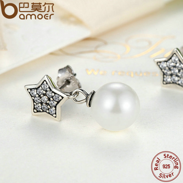 Sterling Silver Star & Simulated Pearl Drop Earrings