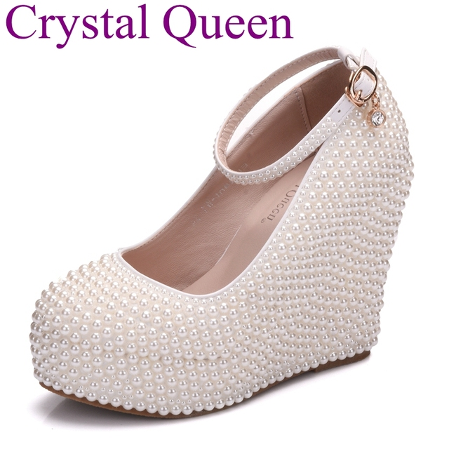 Crystal Queen Full Pearls Beads Wedges Shoes Platform High Heels Round Toe Bridal  Shoes Wedding Pumps fec1d68b0075