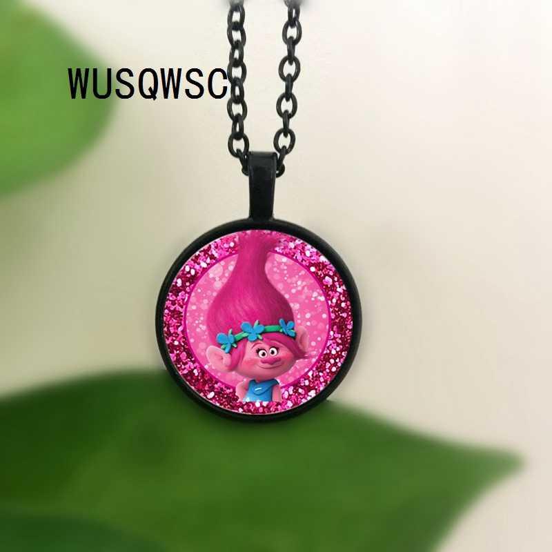WUSQWSC Phong Cách Mùa Hè Trolls Poppy Công Chúa Glass Cabochon Vòng Cổ cho Cô Gái Trẻ Em Ngày với Người Bạn Tốt Nhất Quà Tặng Đồ Trang Sức Trẻ Em