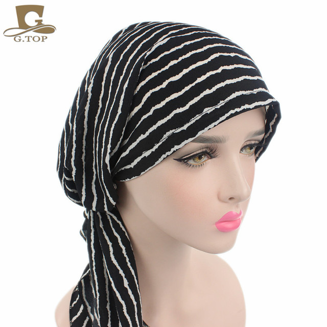 a8105fb7a4ce Nouveau Femmes Foulard Chimio Chapeau Turban Pré-Attaché Chapeaux Bandana  Tichel Pour Cancer Dames foulard