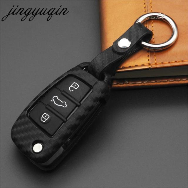Jingyuqin 3 Botão de Carbono Suave Silicone Car Key Fob Tampa Do Caso Remoto Para Audi A3 8L 8 p A4 B6 b7 B8 A6 C5 C6 4F RS3 Q3 Q7 TT
