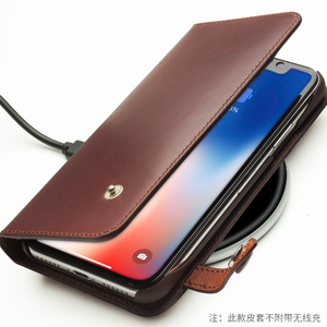 Image 4 - QIALINO Genuine Leather Phone Case for iPhone X Handmade Luxury Ultra Slim Wallet Card Slot Button Bag Flip Cover for iPhone X