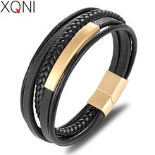 XQNI Wholesale Price Classic Genuine Leather Bracelet For Men Hand Charm Jewelry Multilayer Magnet Handmade Gift For Cool Boys(China)