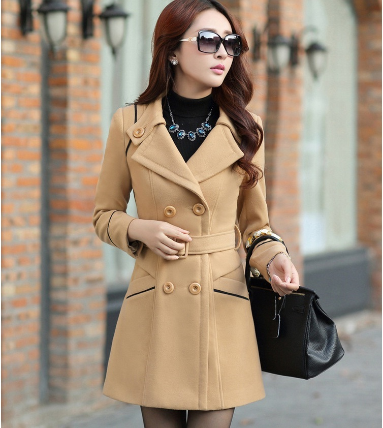 YAGENZ M-3XL Autumn Winter Wool Jacket Women Double Breasted Coats Elegant Overcoat Basic Coat Pockets Woolen Long Coat Top 200 10