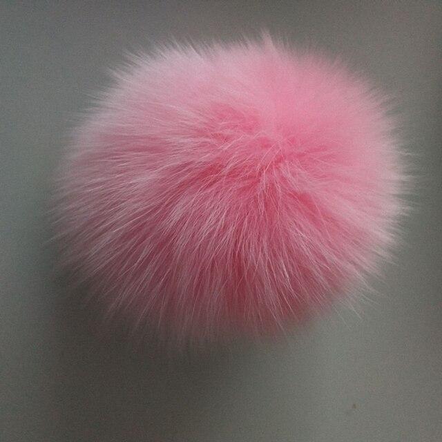 "11 ס""מ טבע אמיתי שועל פרווה כדור פום פום פלאפי DIY חורף כובע Skullies בימס סרוג כובע Pompoms F009-pink"