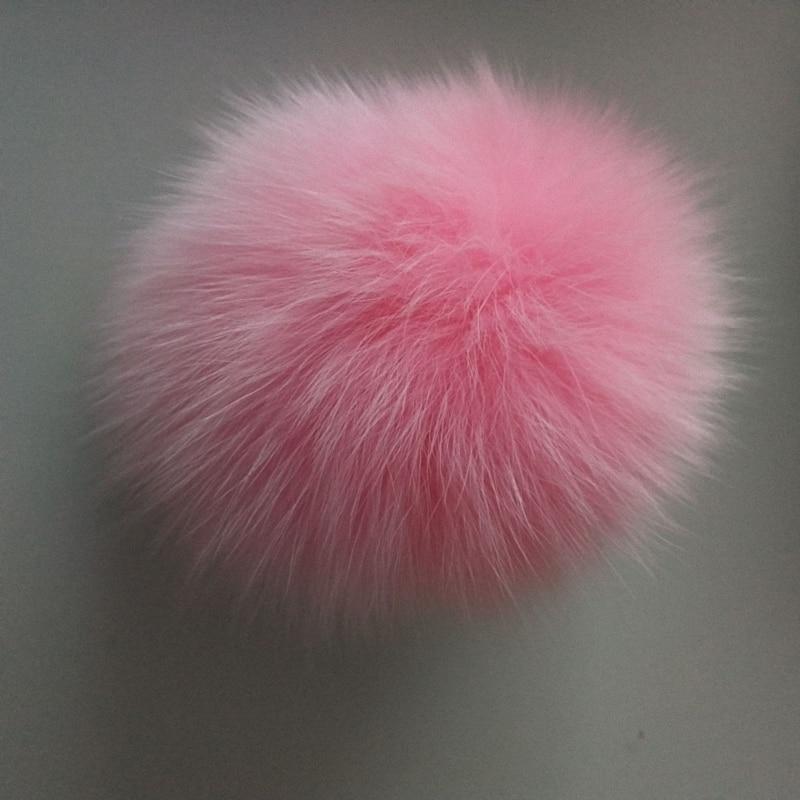 11cm Nature Genuine Fox Fur Ball Pom Pom Fluffy DIY Winter Hat Skullies Beanies Knitted Cap Pompoms F009-pink