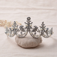 New Elegant Luxury Gold Bride Pearl Jewelry Alloy Quinceanera Tiaras And Crowns Bridal Wedding Hair Jewelry Accessories
