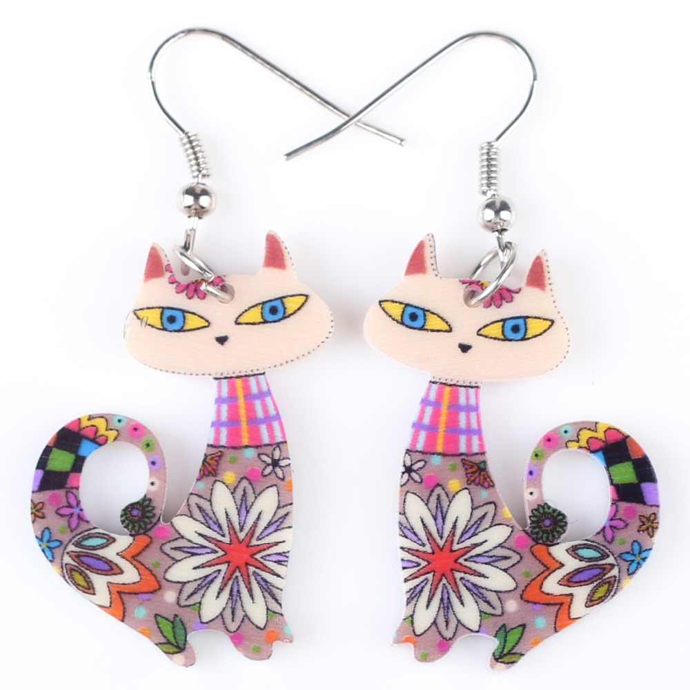 Bonsny Drop Cat Long Earrings Dangle Brand Acrylic Animal Pattern Girls Women Cartoon Multi Novelty Jewelry Hot Decoration