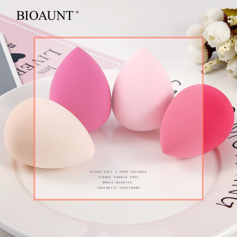 BIOAUNT New 6 Colors Of Pro Face Foundation Sponge Powder Puff Drop-shaped Smooth Cosmetic Puff Beauty Makeup Assistant Tools