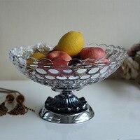 The Modern Classical Crystal Glass Fruit Snacks Disc Club Decor Fashion Home Furnishing Decorative Plate