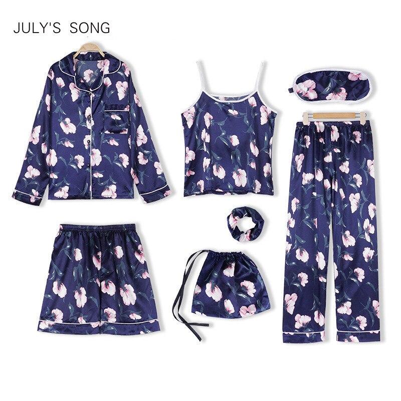 JULY'S SONG Woman 7 Pieces Emulation Silk   Pajamas   Autumn Shorts Woman   Pajamas     Set   Silk Flower Vintage Female Home Wear Clothing