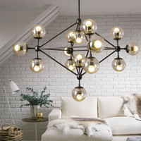 Modern Chandelier Lighting Kitchen Fixture Semi Flush Pendent Lamp Mounted Black Paiting Amber Glass Hanging Lamp